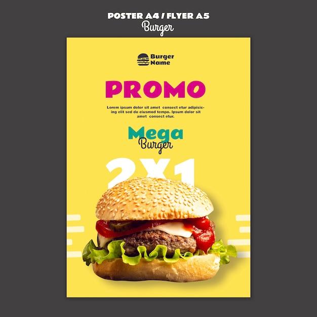 Modello di stampa poster di mega hamburger Psd Gratuite