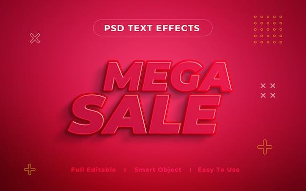 Mega sale 3d text effect mockup Premium Psd