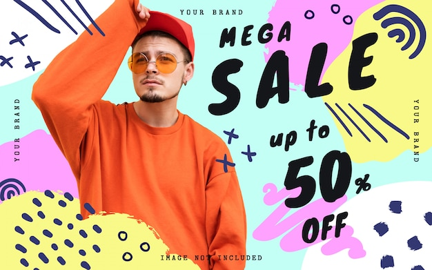 Mega sale banner template with doodles Free Psd
