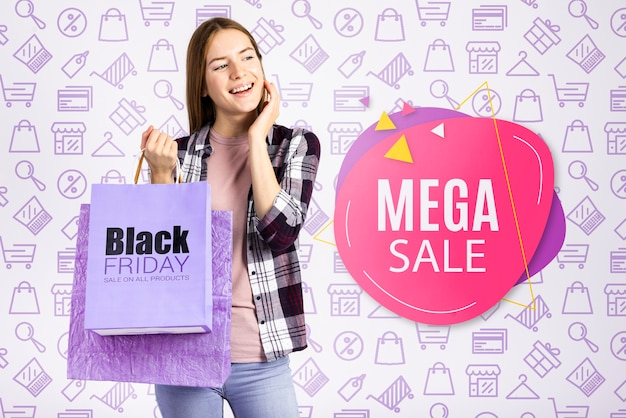 Mega sale banner with beautiful woman Free Psd