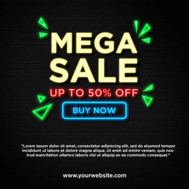 Mega sale in neon style  banner promotion Premium Psd