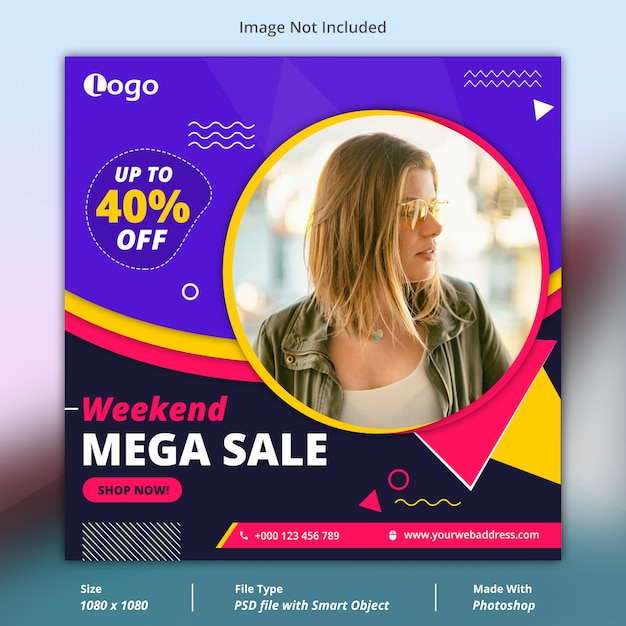 Mega sale offer social media banner template Premium Psd
