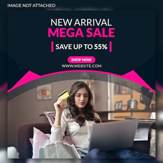 Mega sale social web banners Premium Psd