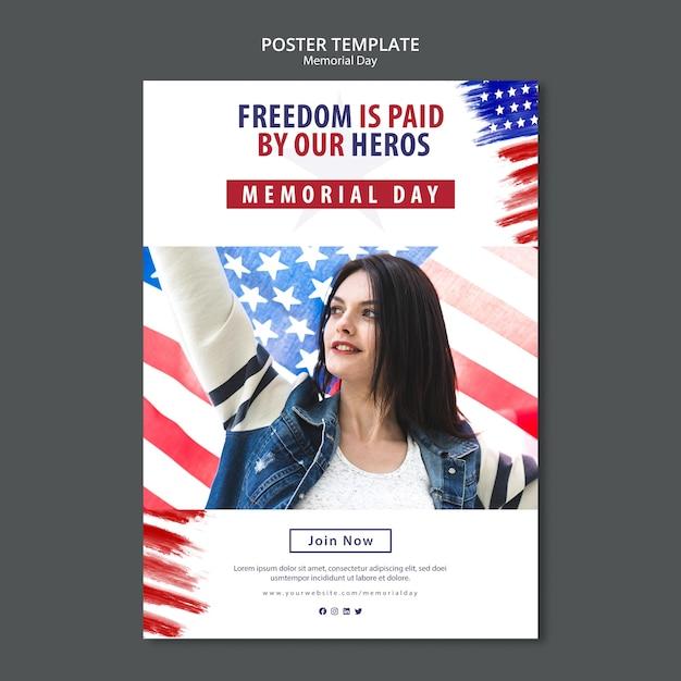 Шаблон постера в день памяти Бесплатные Psd