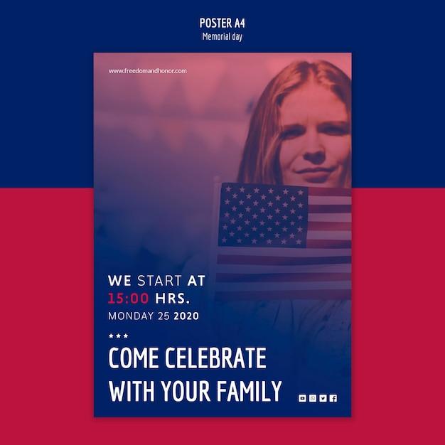 День памяти шаблон плаката Бесплатные Psd