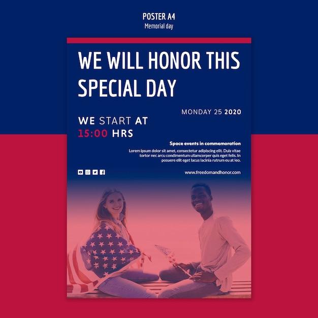 Дизайн плаката в день памяти Бесплатные Psd