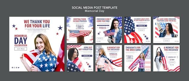 Modello di concetto di posta sociale dei media memorial day Psd Gratuite