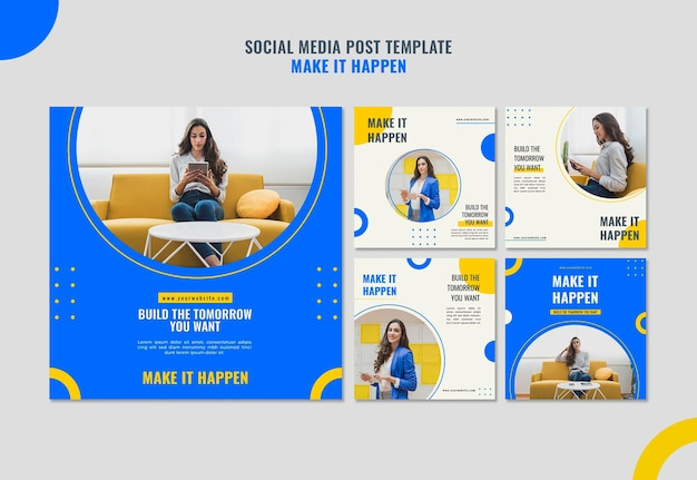 Memphis business ad social media post template Premium Psd