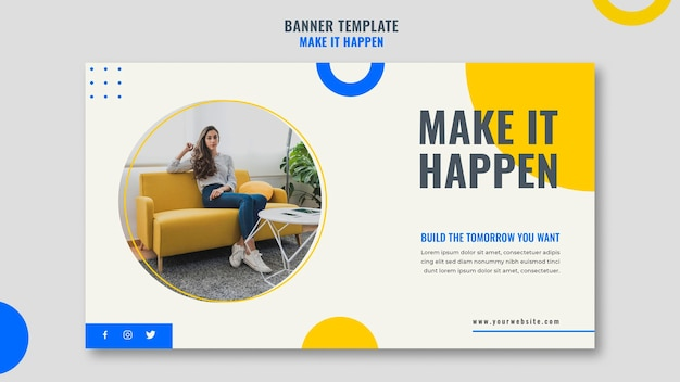 Memphis business ad template banner Free Psd