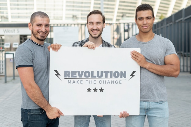 Men holding protest mock-up Free Psd