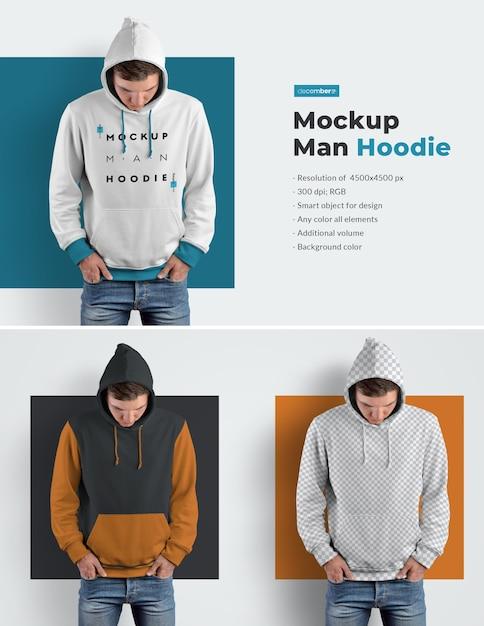 Men hoodie mockups Premium Psd