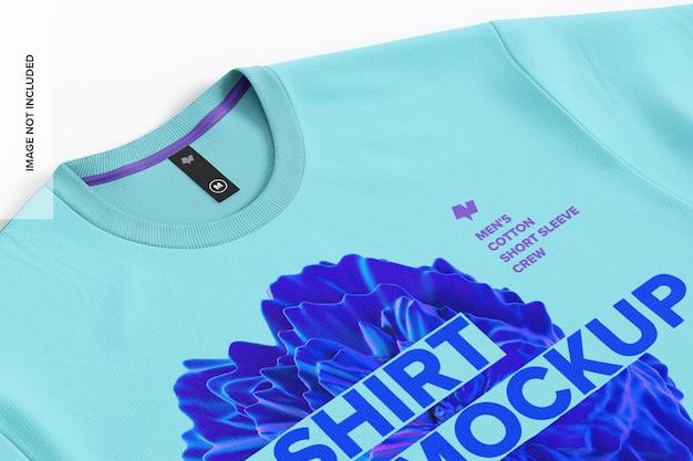 라벨 이랑 클로즈업 02 남성 면화 티셔츠 프리미엄 PSD 파일