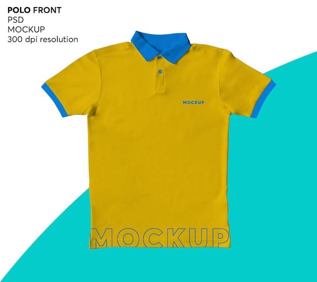 Мужская рубашка поло спереди макет изолированные Premium Psd