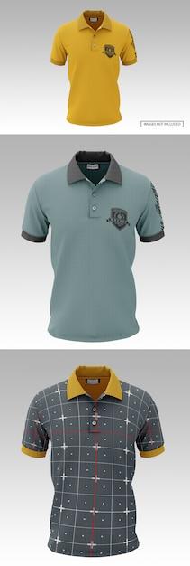 Мокап мужской рубашки поло с коротким рукавом Premium Psd