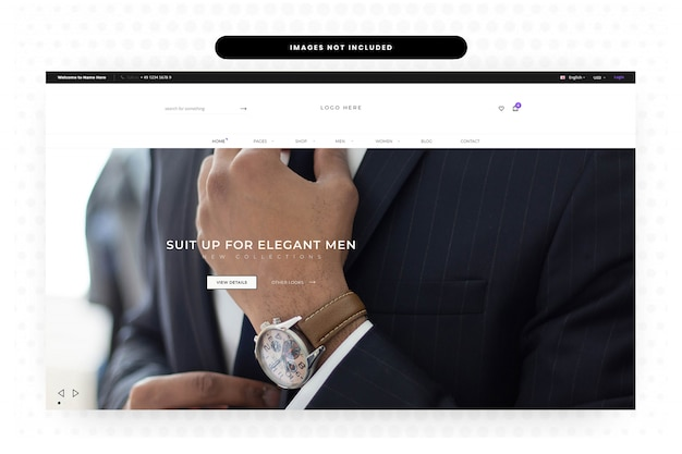 Men summer clothing website landing page, homepage, header, slider Premium Psd