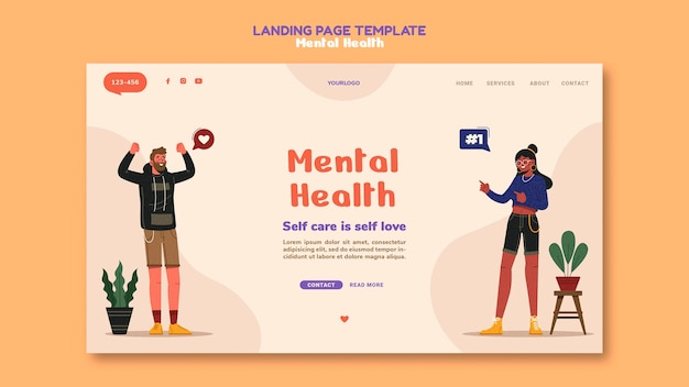 Mental health  landing page template Free Psd
