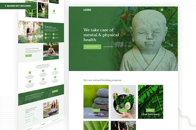Шаблон страницы сайта по психическому и физическому здоровью Premium Psd