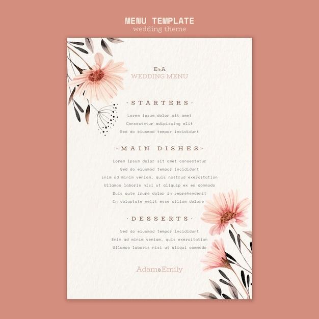 Concetto di menu per modello di matrimonio Psd Gratuite