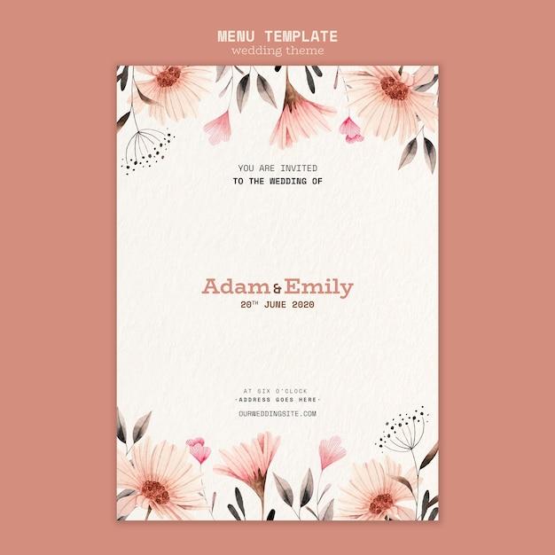 Menu design for wedding template Free Psd