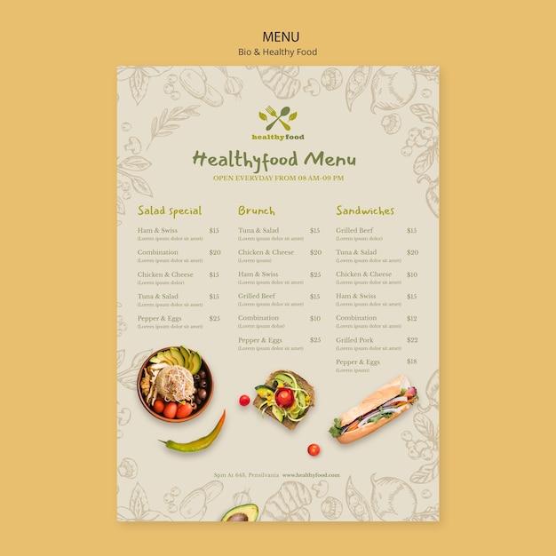Menu of healthy and bio food template Free Psd