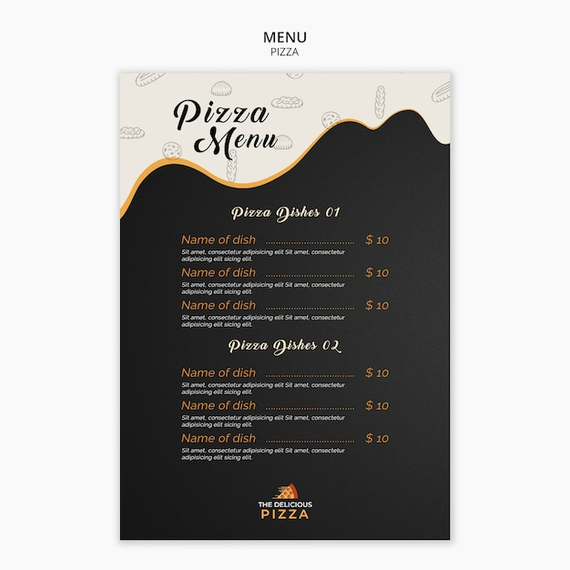 Menu pizza dishes template Free Psd
