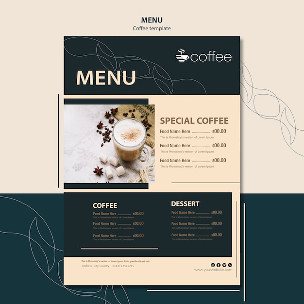 Menu template concept with coffee Free Psd