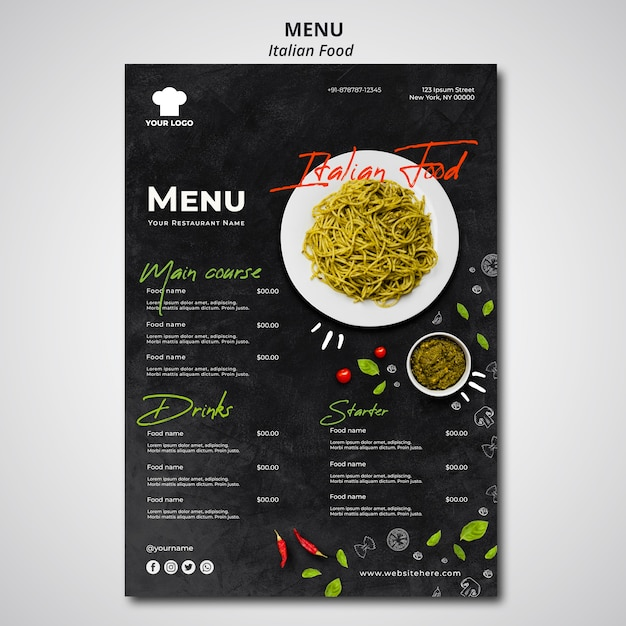 Шаблон меню для ресторана традиционной итальянской кухни Premium Psd