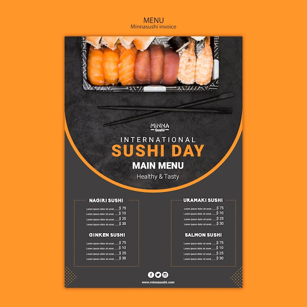 Menu template for international sushi day Free Psd