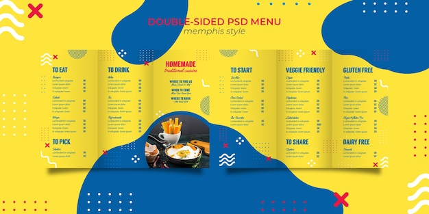Menu template for restaurant in memphis style Free Psd