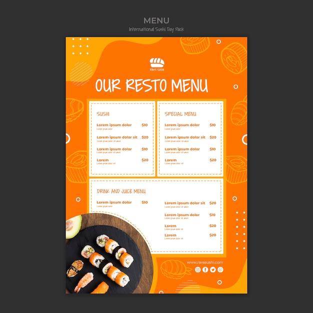 Menu template for sushi restaurant Free Psd
