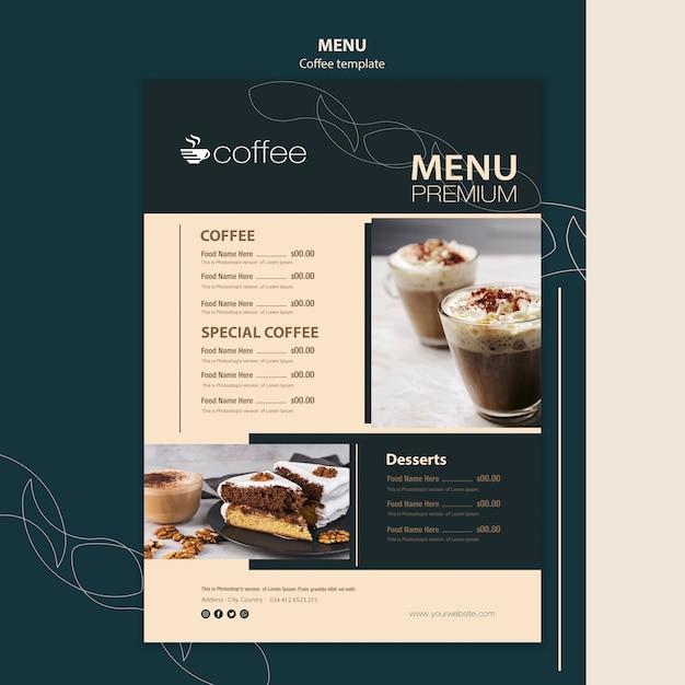 Menu template theme with coffee Free Psd
