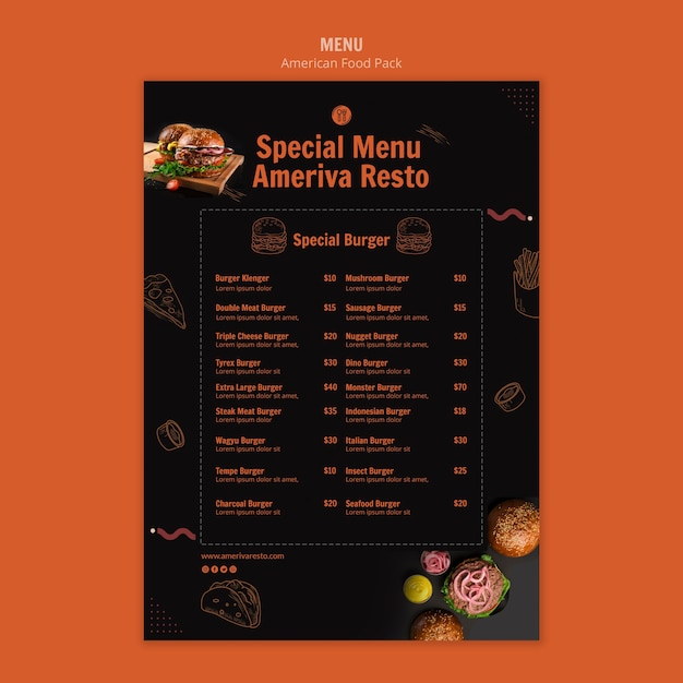 Menu template with american food concept Free Psd