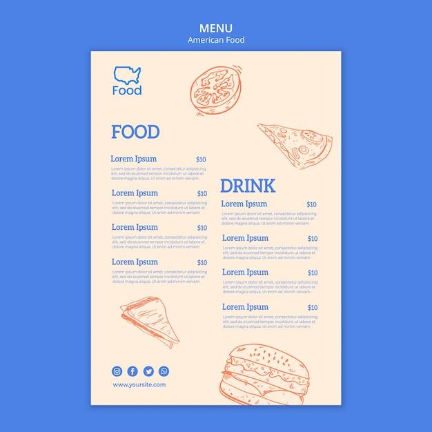 Шаблон меню с американской едой Бесплатные Psd