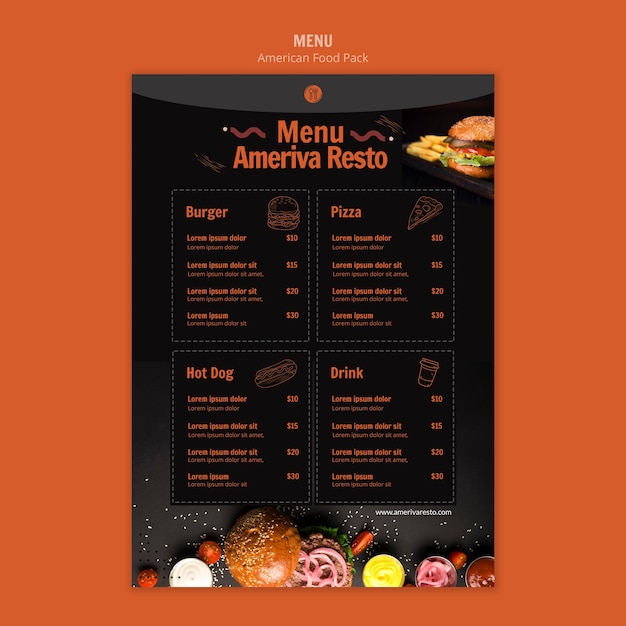 Menu template with american food Free Psd