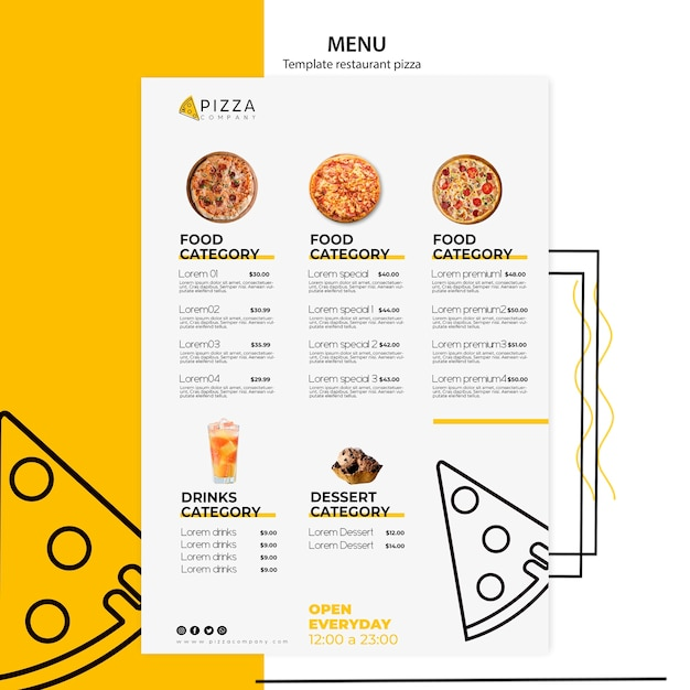 Menu template with dishes for pizza restaurant Premium Psd