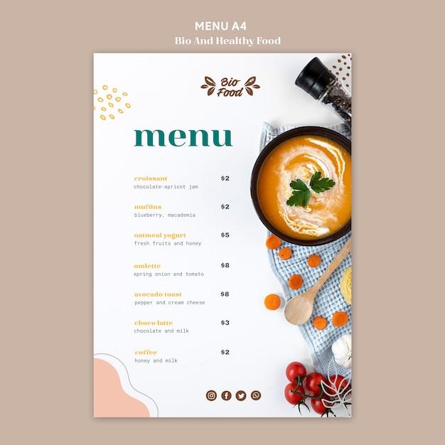 Menu template with healthy food Premium Psd