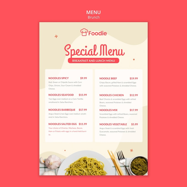 Menu template with list for restaurant Premium Psd