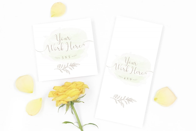 Menu and thank you card mockup with yellow roses Premium Psd