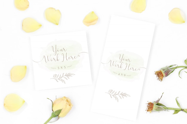 Menu and thank you card on white background Premium Psd
