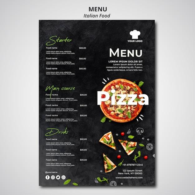 Menu for traditional italian food restaurant Free Psd