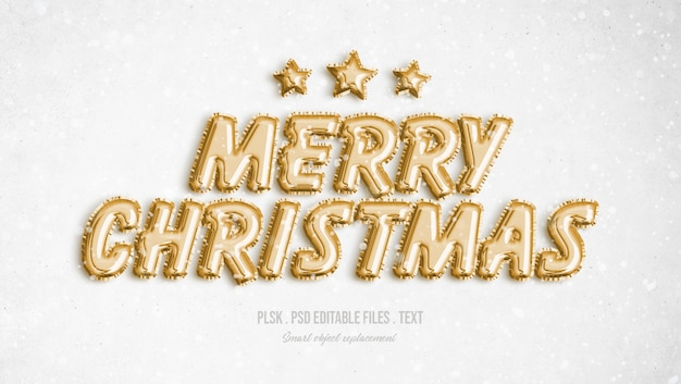 Merry christmas 3d text style effect Premium Psd