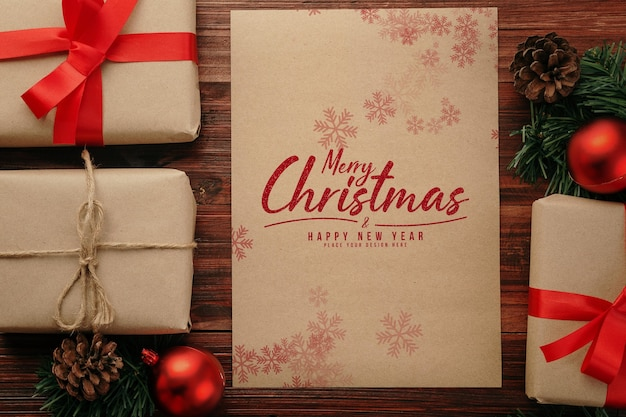 Merry christmas a4 poster mockup with christmas gifts decorations Premium Psd