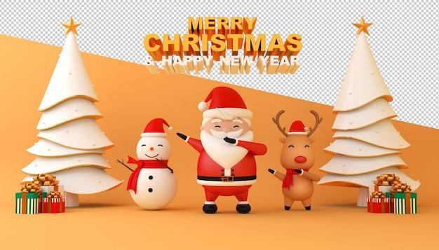 С рождеством и новым годом макет карты Premium Psd