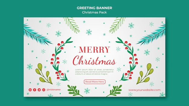 Merry christmas banner with decoration Free Psd