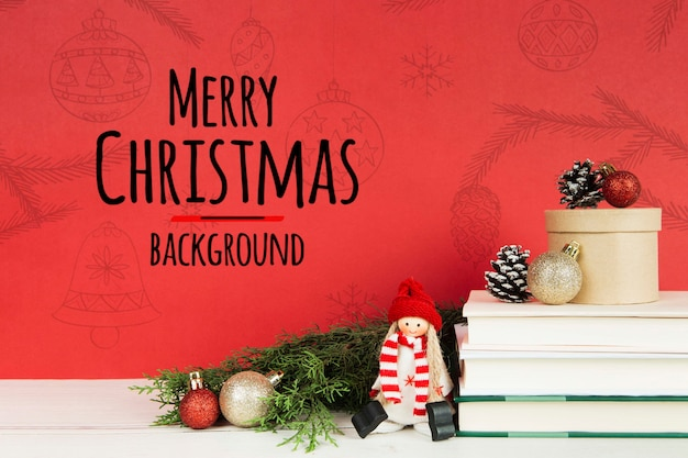Merry christmas book with books and christmas balls Free Psd
