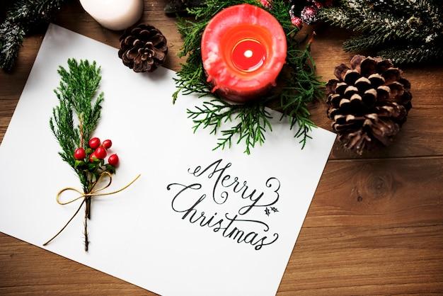 Merry christmas card present concept Free Psd
