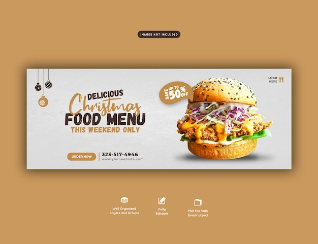 Merry christmas delicious burger and food menu facebook cover template Free Psd