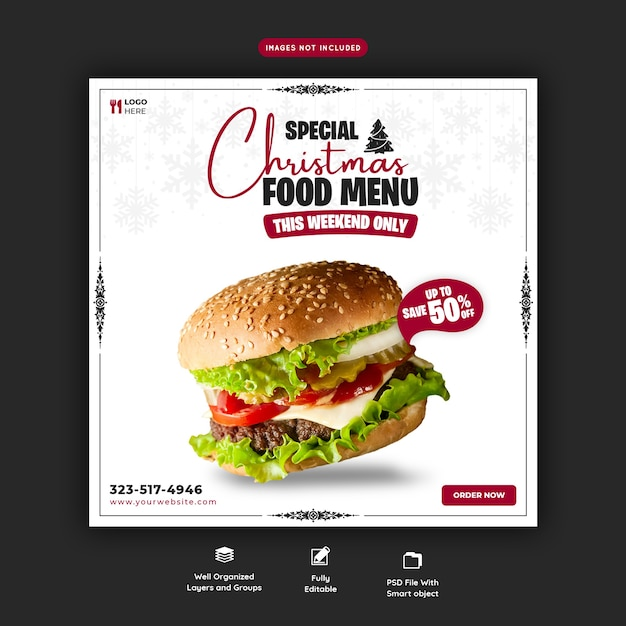 Buon natale delizioso hamburger e menu di cibo modello di banner di social media Psd Gratuite