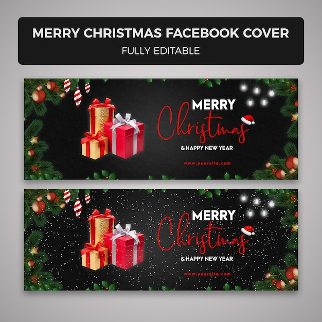 Merry christmas facebook cover s PSD file