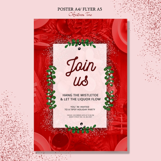 Merry christmas flyer concept Free Psd